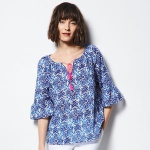 MILLY Blue & White Tile Print Peasant Blouse Top
